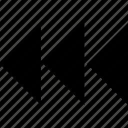 arrows, back, creative, design, rewind, three icon