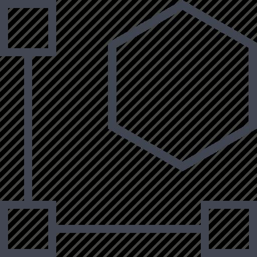 connect, hexagon, three icon