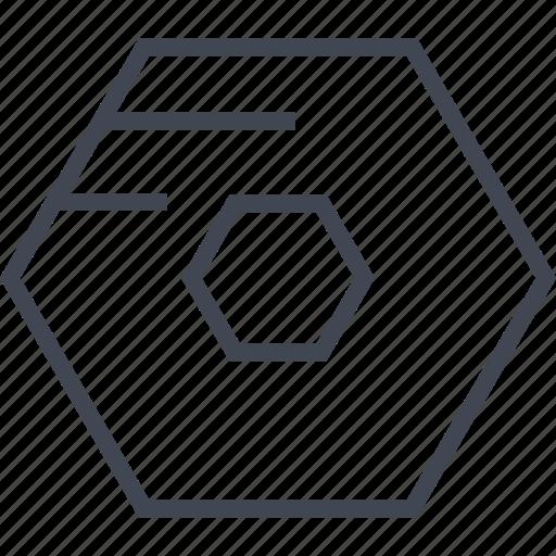 center, eye, hexagon, robot icon