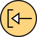 arrow, back, exit, pointing icon