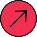 arrow, direction, right, up icon