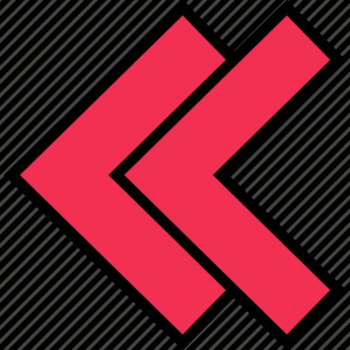 arrow, direction, double, left icon