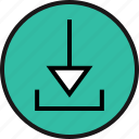 arrow, down, download, pointing icon