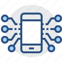 circuit, device, electronics, mobile, phone, smartphone, technology icon