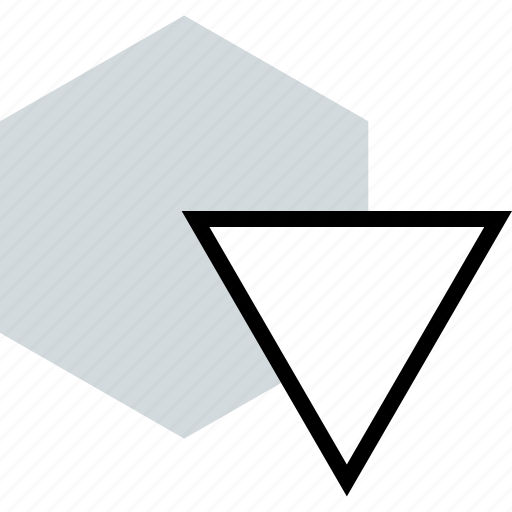 abstract, arrow, down icon