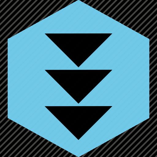abstract, creative, down, hexagon icon