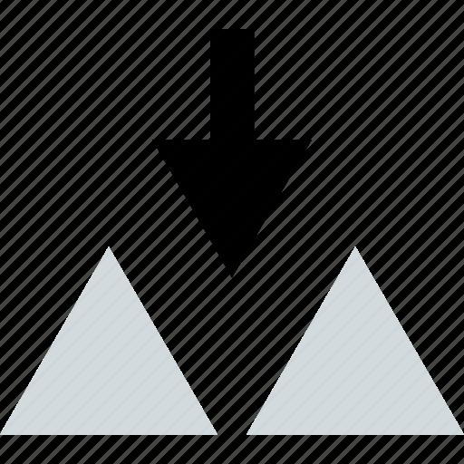 creative, down, triangles icon