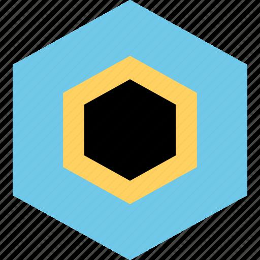abstract, design, eye, hexagon icon