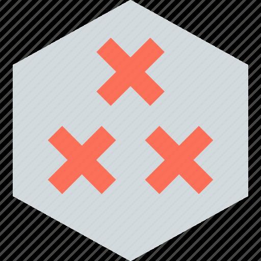 creative, hexagon, three, x icon