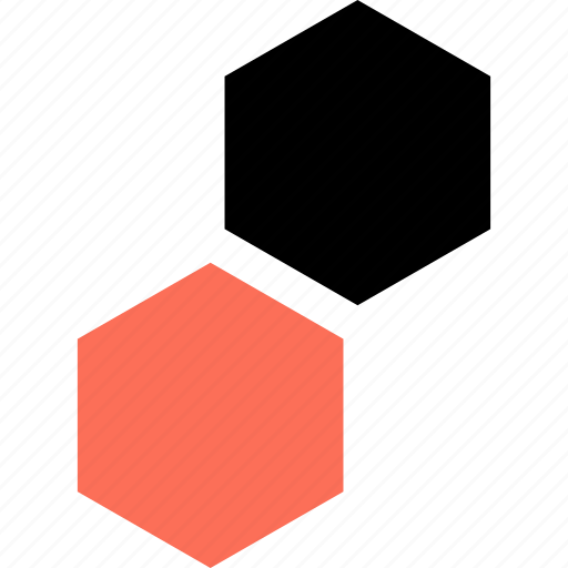abstract, hexagons, two icon