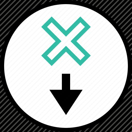 arrow, delete, down, x icon