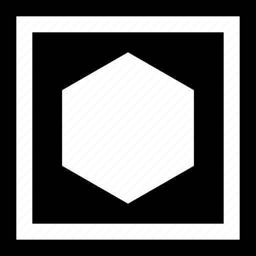 boxedin, center, hexagon icon