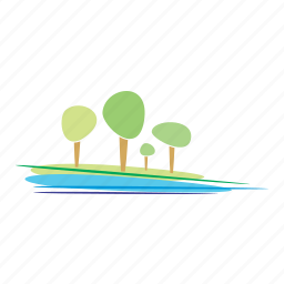 and, design, ecology, landscape, nature, river, trees icon