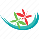 dragonfly, pond, river, water, wave icon
