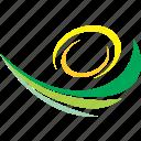 field, green, landscape, spring, sun, wave icon