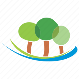 and, forest, landscape, logo, nature, river, trees icon