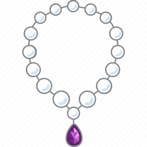 jewellery, jewelry, necklace, pearl, pearl necklace, teardrop icon