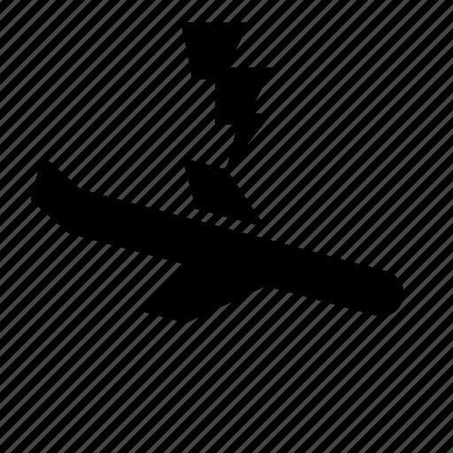 accident, airplane, crash, damage, lightning, strike icon