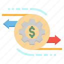 business, credit, gears, money, transaction icon