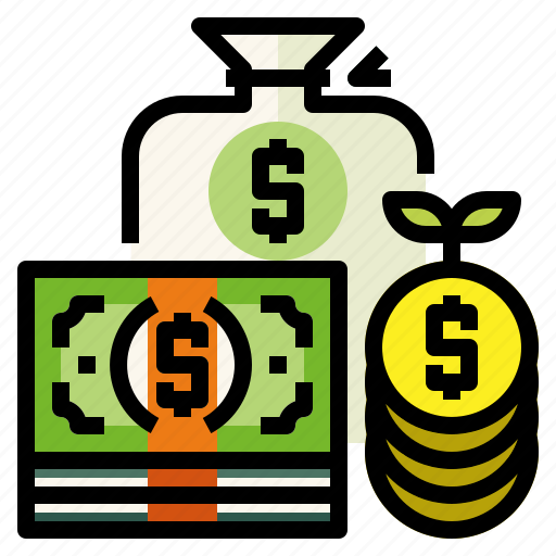 bags, banknote, coins, money icon