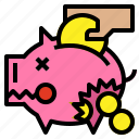 bank, broken, leaked, piggy icon