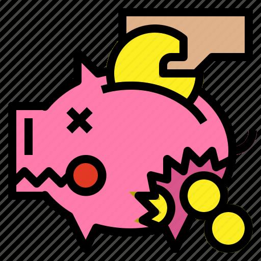 bank, broken, leaked, piggy icon