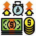 money, refund, time icon