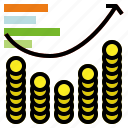 coin, graph, statistics icon