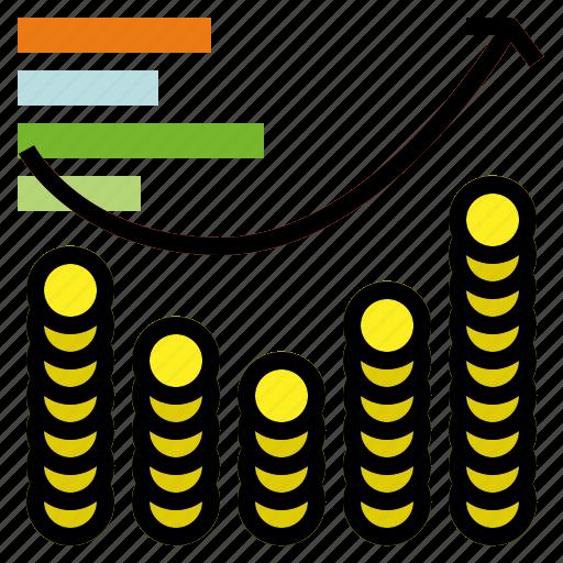 coin, graph, statistics icon