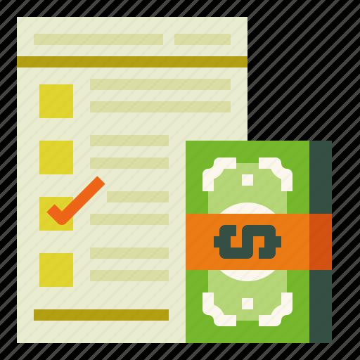 checklist, cost, document icon
