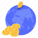 global cash, global currency, global finance, global money, international money icon