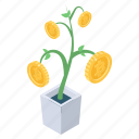 bitcoin growth, business growth, financial growth, money growth, money plant icon