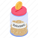 coins jar, money bank, money jar, saving account, saving money icon