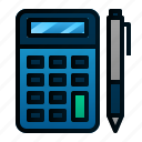 accounting, business, calculator, finance, office, pen icon