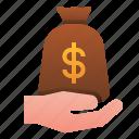 accounting, bag, finance, hand, loan, money