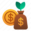 accounting, bag, growth, investment, money, profit icon