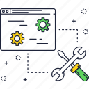 fix, gears, layer, screwdriver, support, under maintance icon