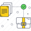 business, check, files, layer, paper, suitcase icon