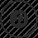 label, music, mute, note, round, sound icon