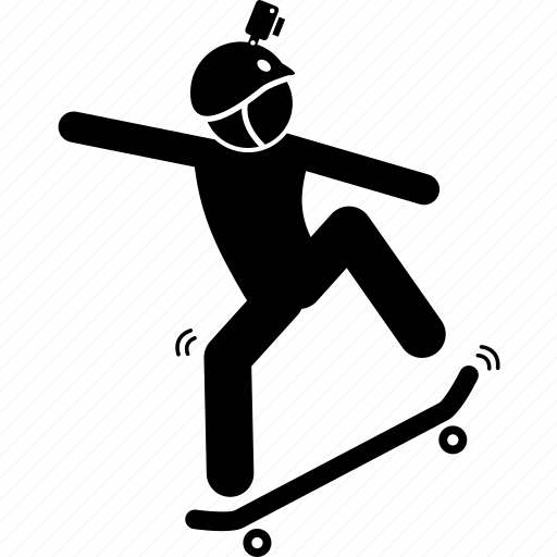 action, camera, headset, helmet, skateboard, sport icon