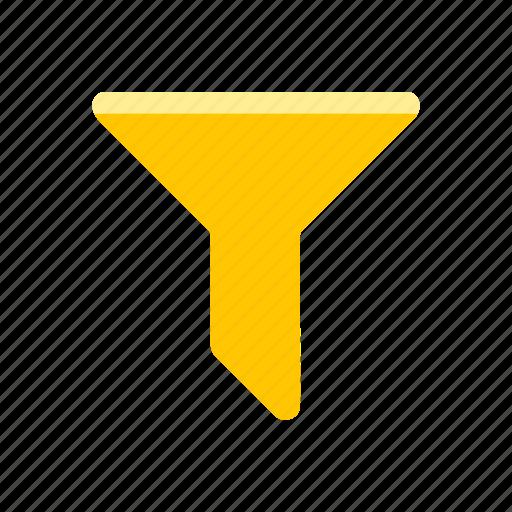 filter, liquid funnel, sales funnel, yellow funnel icon