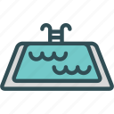 danger, drown, people, pool, summer, swim, water icon