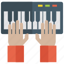 entertainment, instrument, keyboard playing, music, musical instrument, playing piano icon