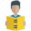 book reading, book reviewing, education, learning lesson, study icon