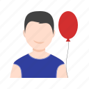 balloon, boy, happy, holding balloons, kid, man, person icon