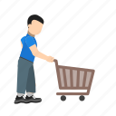 cart, ecommerce, purchase, pushing cart, shop, shopping icon