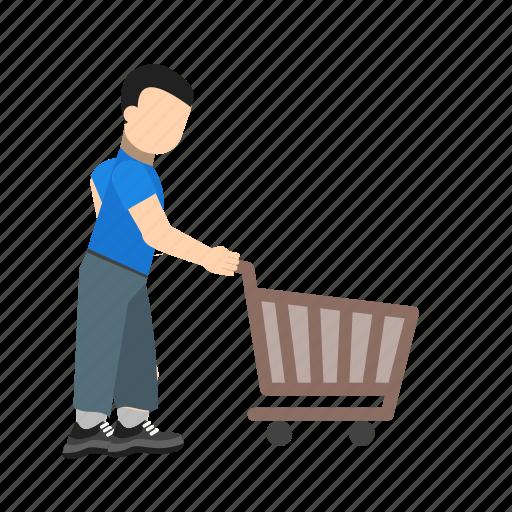 cart, ecommerce, purchase, pushing cart, shop, shopping icon