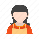 apron, cleaner, cleaning, hotel maid, maid, room cleaner, service icon