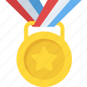 game medal, gold medal, passion for winning, sports award, star medal icon