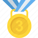 achievement, championship, gold medal, success, third placement icon